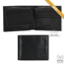Portafoglio Anti RFID uomo pelle con 12c/c ribaltina Nero