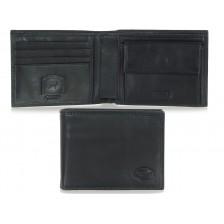 Portafoglio uomo colore castagno con 7 posti per carte di credito Blu