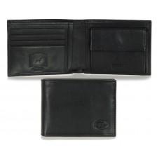 Portafoglio uomo classico anti-rfid 7cc con portamonete in pelle Nero