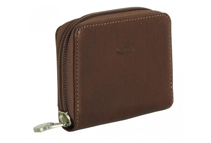 Mini coin wallet with zip and belt loop, in Vegetable leather Brown