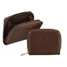 Portamonete zip / borsellino cintura, pelle Vegetale 10cm Marrone