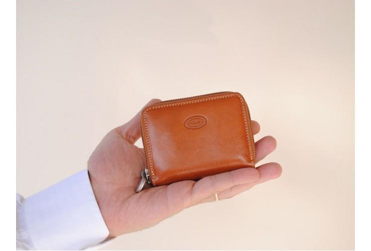 Portemonee mini reißverschluss Gürteltasche, pflanzlich italienische vachetta leder Honig 10cm