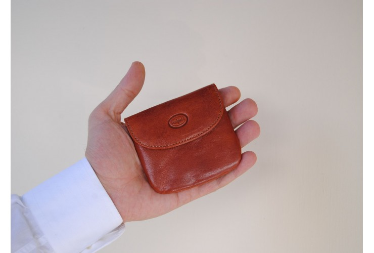 Portamonete borsellino portachiavi in pelle Vegetale Cuoio/Cognac