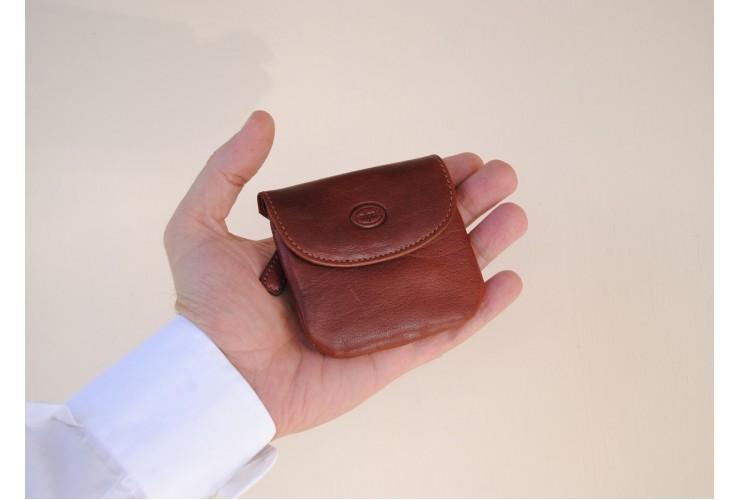 Portamonete borsellino portachiavi in pelle Vegetale Marrone