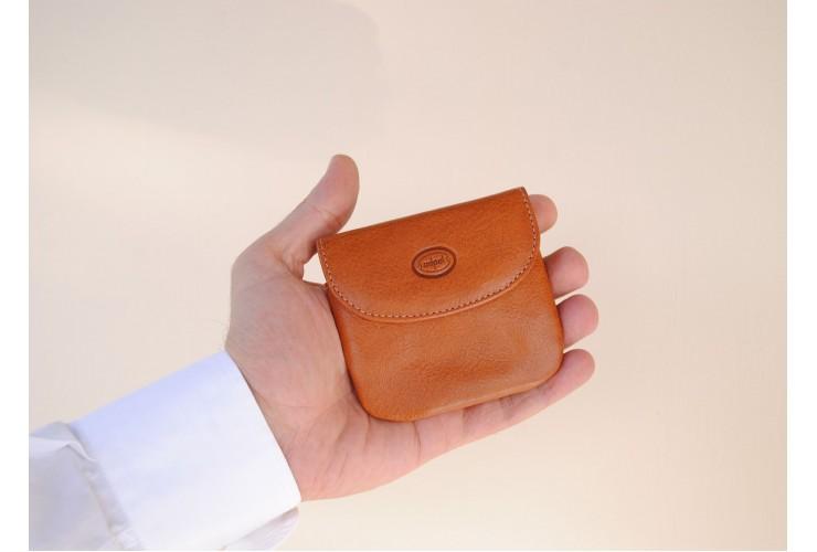 Portamonete borsellino portachiavi in pelle Vegetale Miele