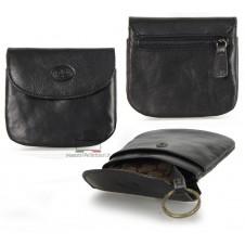 Portamonete borsellino portachiavi in pelle Vegetale Nero