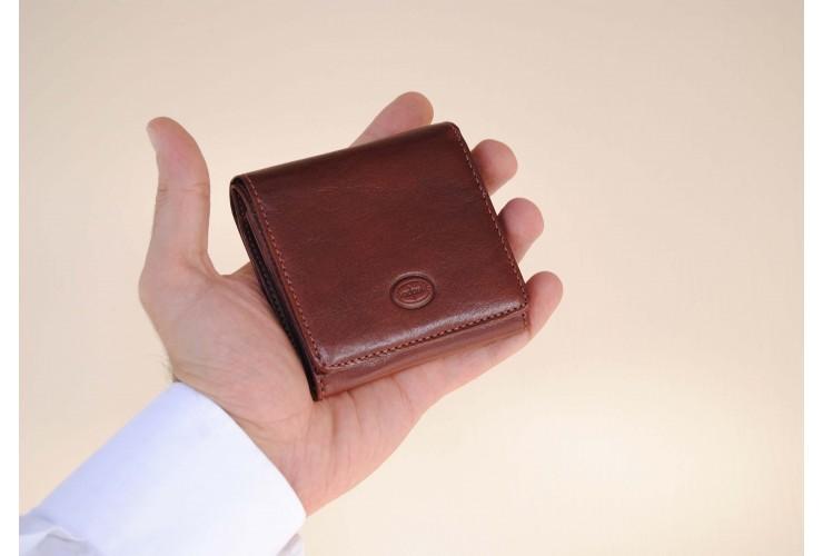 Kleine Mini-Geldbörse Portmonee Wiener Schachtel aus pflanzlich gegerbt leder Braun