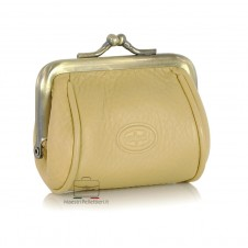 Women's clutch mini purse wallet made by Vegetable leather 8cm Beige