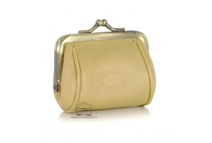 Clutch mini Geldbörse pflanzlich italienische vachetta leder 8cm beige