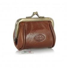 Portamonete clutch piccolo con cerniera, pelle Vegetale 8cm Marrone