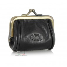 Portamonete clutch piccolo con cerniera, pelle Vegetale 8cm Nero