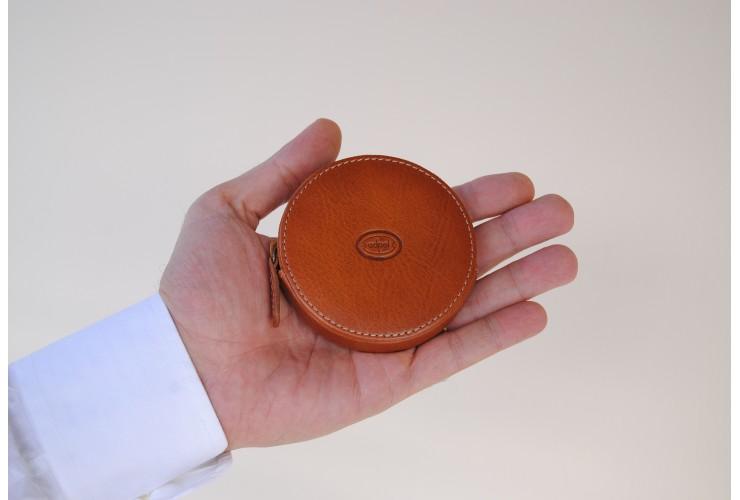 Münzbörse mini reißverschluss geldbörse, pflanzlich italienische vachetta leder 8.5cm Stradivari/Cognac