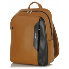 "Leather Backpack for laptop 14"" in leather Cognac/Brown"