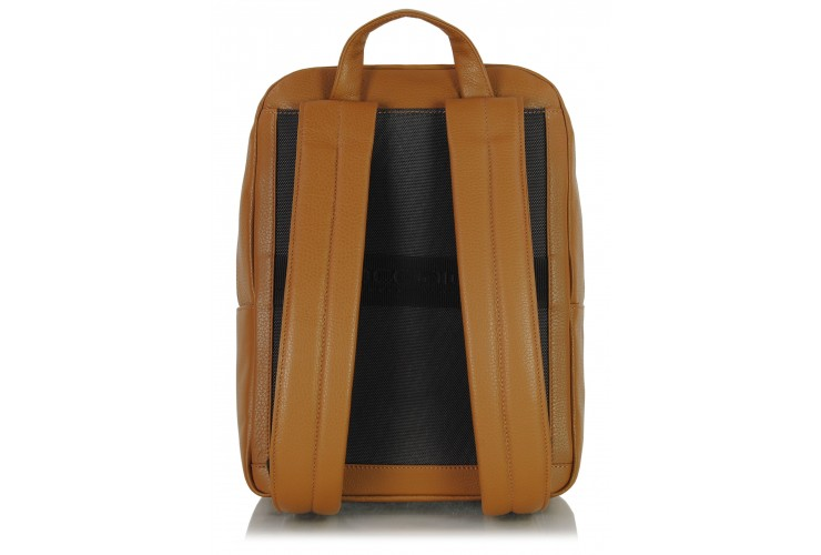 """Leather Backpack for laptop 14"""" in leather Cognac/Brown"""