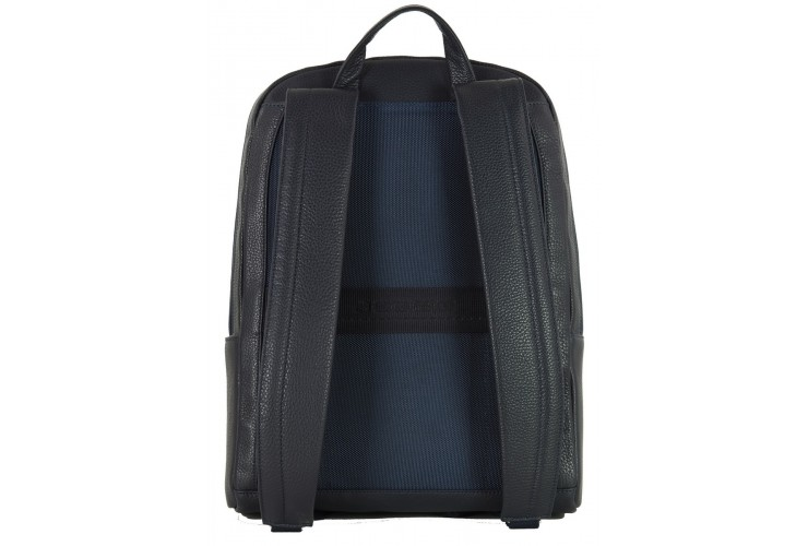 """Leather Backpack for laptop 15.5"""" in leather Blue"""