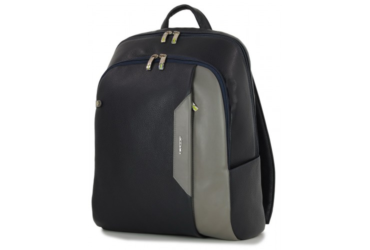 "Leather Backpack for laptop 15.5"" in leather Blue/Gray"