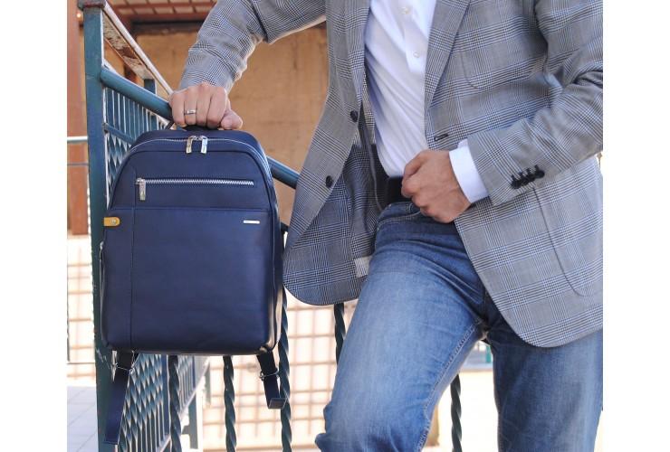 Zaino in pelle Blu, porta computer fino a 13'' 37cm