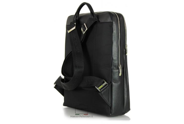 Zaino in pelle / cartella, porta computer fino a 16'' Nero 40cm