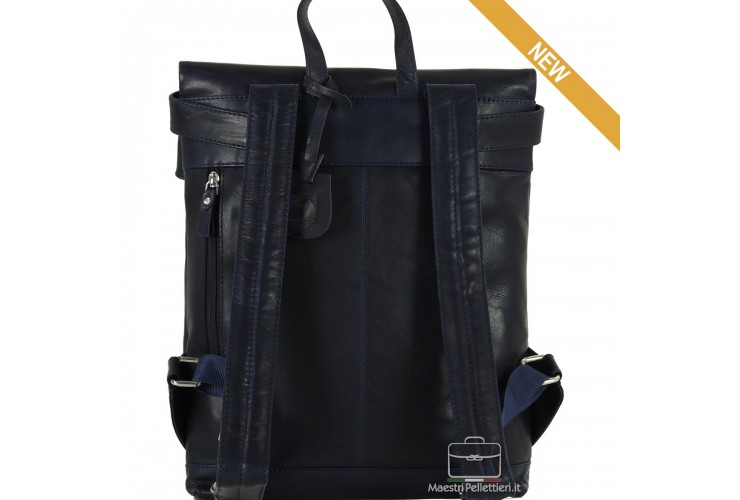 """Laptop Backpack Roll Top 13"""" in leather Blue"""