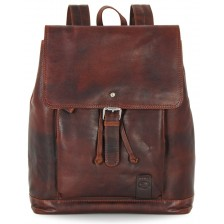 """Laptop Backpack Piccadilly Circus 15"""" in leather Chestnut/Brown"""