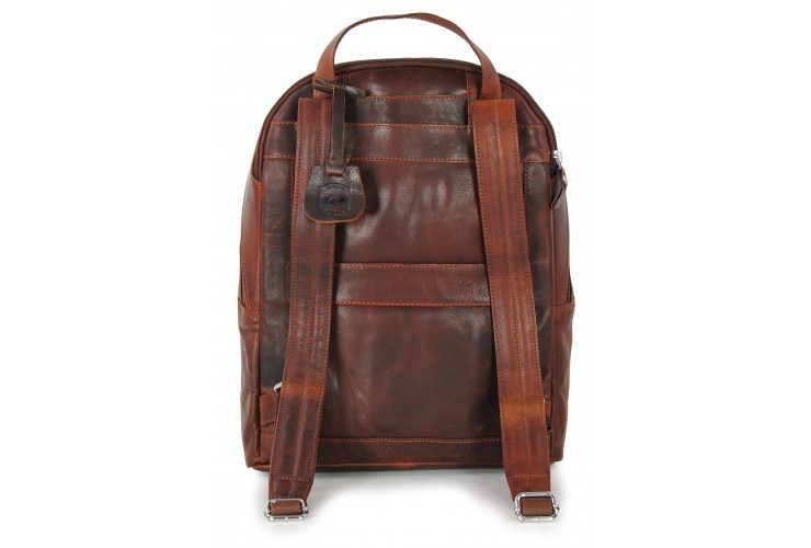 """Laptop Backpack Carnaby St. 15"""" in leather Chestnut/Brown"""