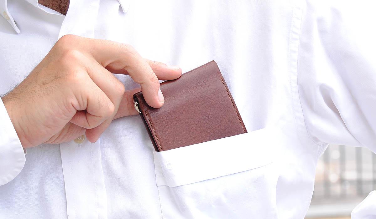 portafoglio fermasoldi in cuoio