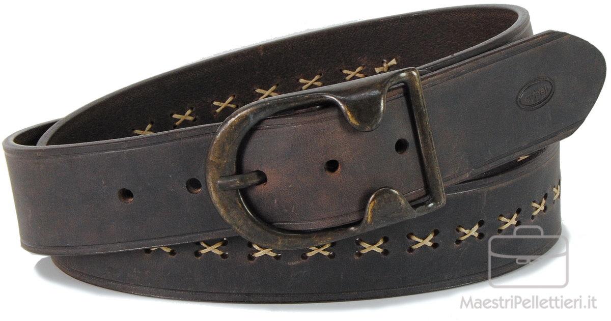 cintura vintage in pelle marrone