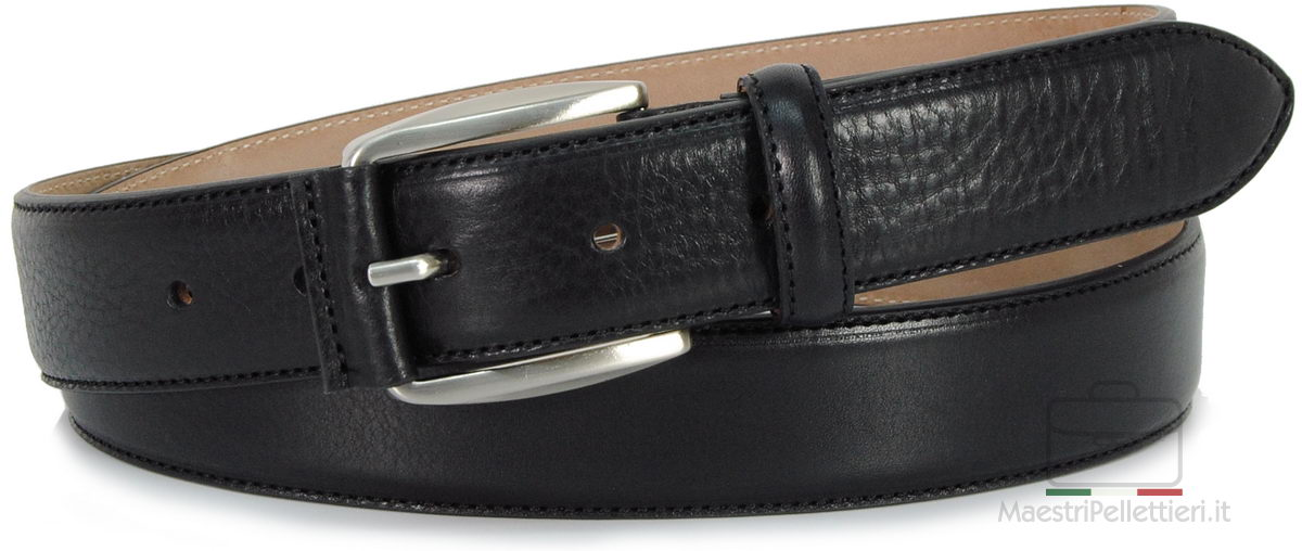 black men's belt made in italy