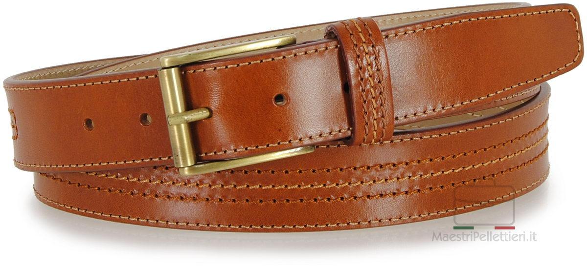 Cintura classica uomo in Vacchetta Cognac