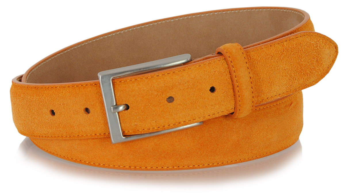 Veloursleder gürtel farbe Orange, made in Italy | Adpel