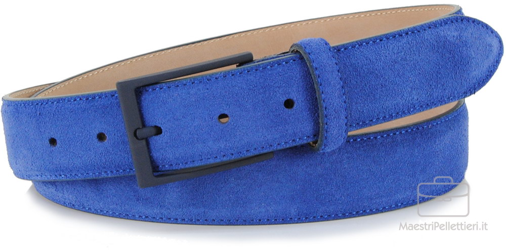 cintura scamociata indaco blu, made in Italy | Adpel