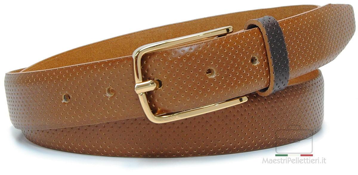 cintura cuoio puntini fibbia oro