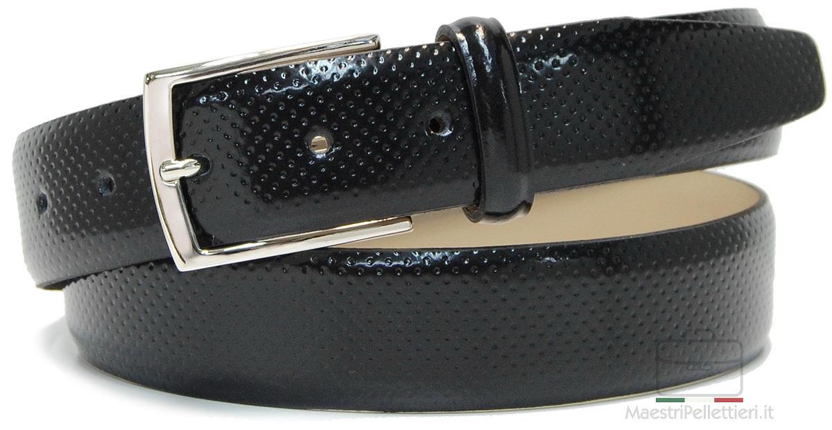 cintura pelle spazzola nera con puntini