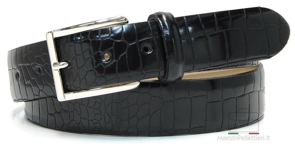 cintura pelle spazzola nera coccodrillo