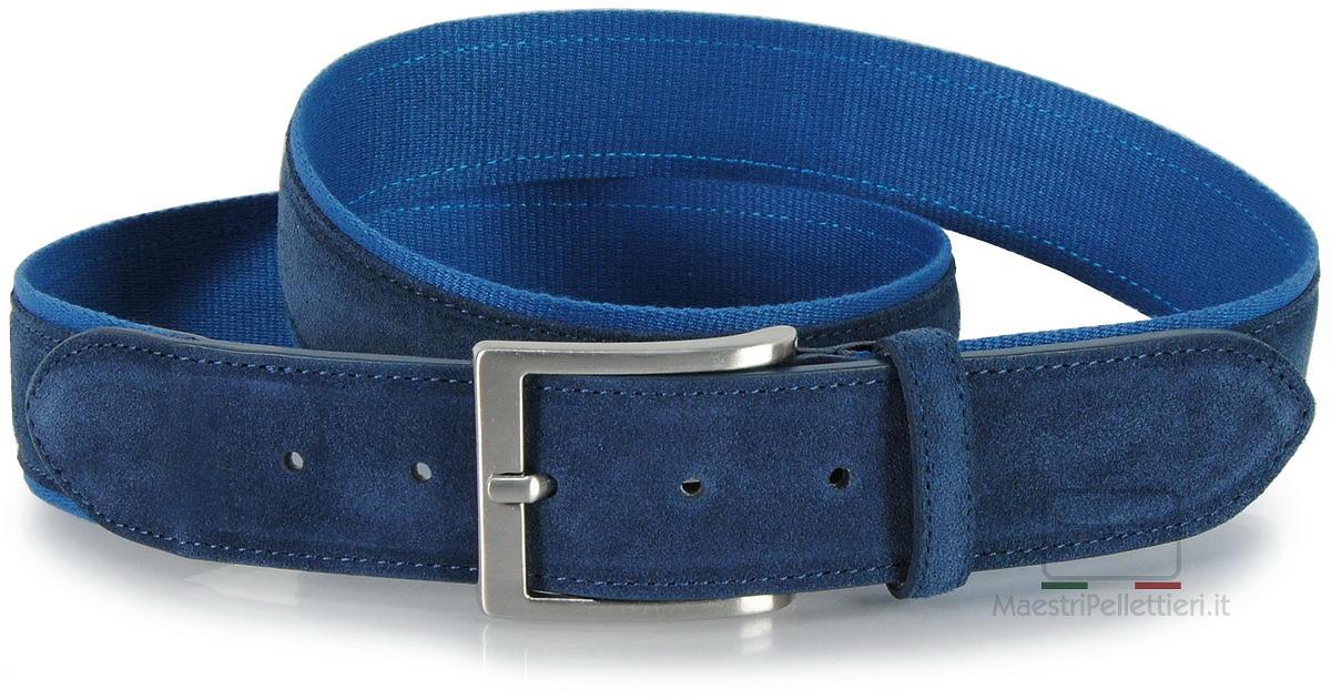 cintura camoscio e nastro blu