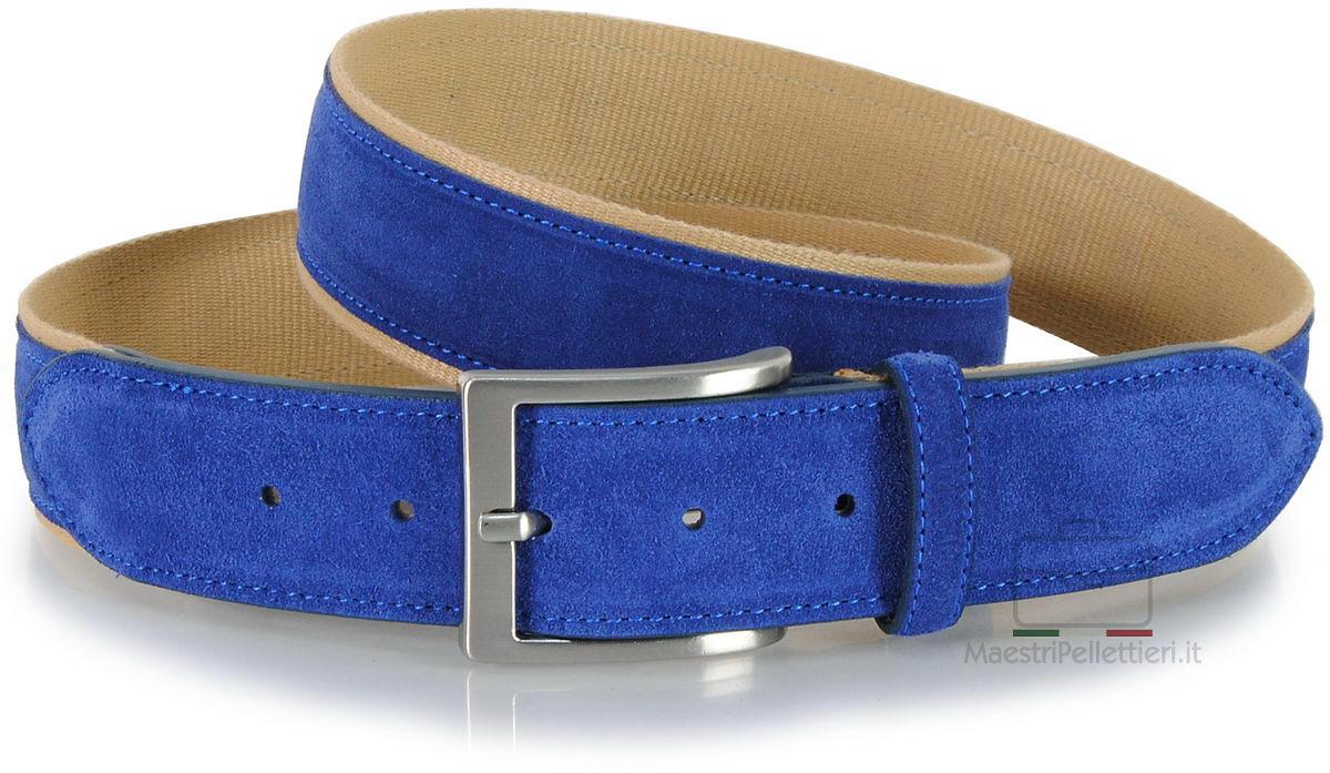cintura camoscio e nastro indaco blu