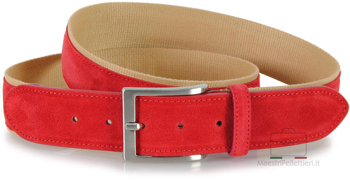 cintura camoscio rosso e nastro beige