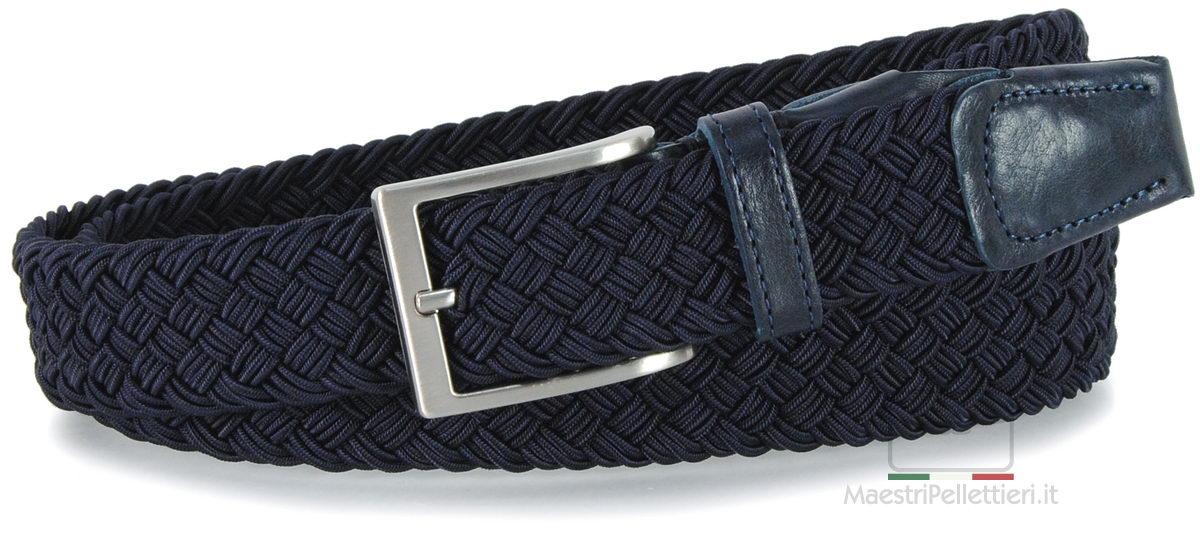 cintura intrecciata elastica uomo blu