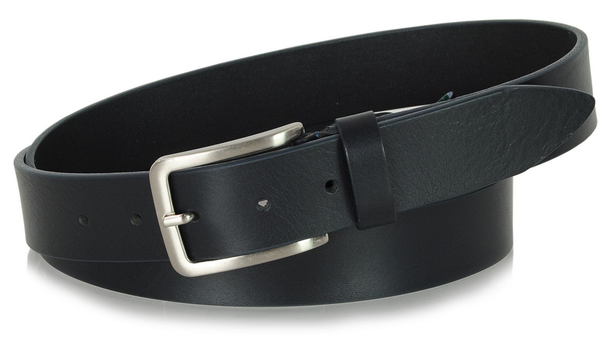 Belt in Blue leather, made in italy - Acciaio