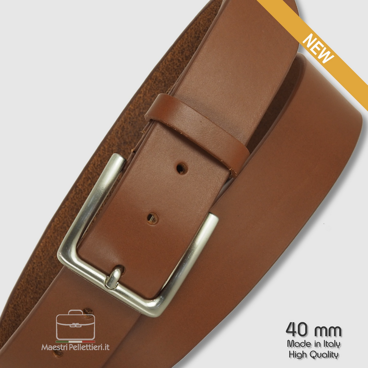Belt in cognac leather, made in italy - Acciaio