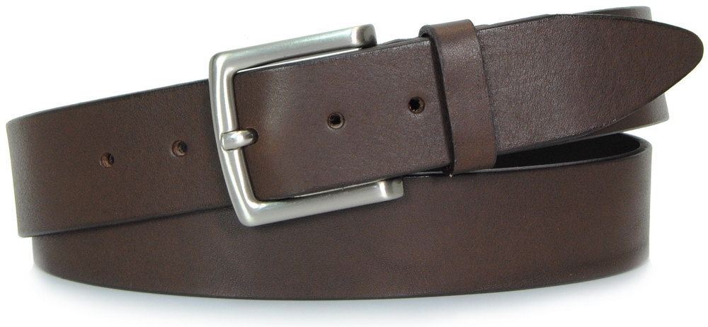 Belt in Brown leather, made in italy - Acciaio