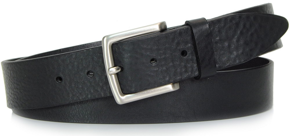 cintura in cuoio nero - Acciaio