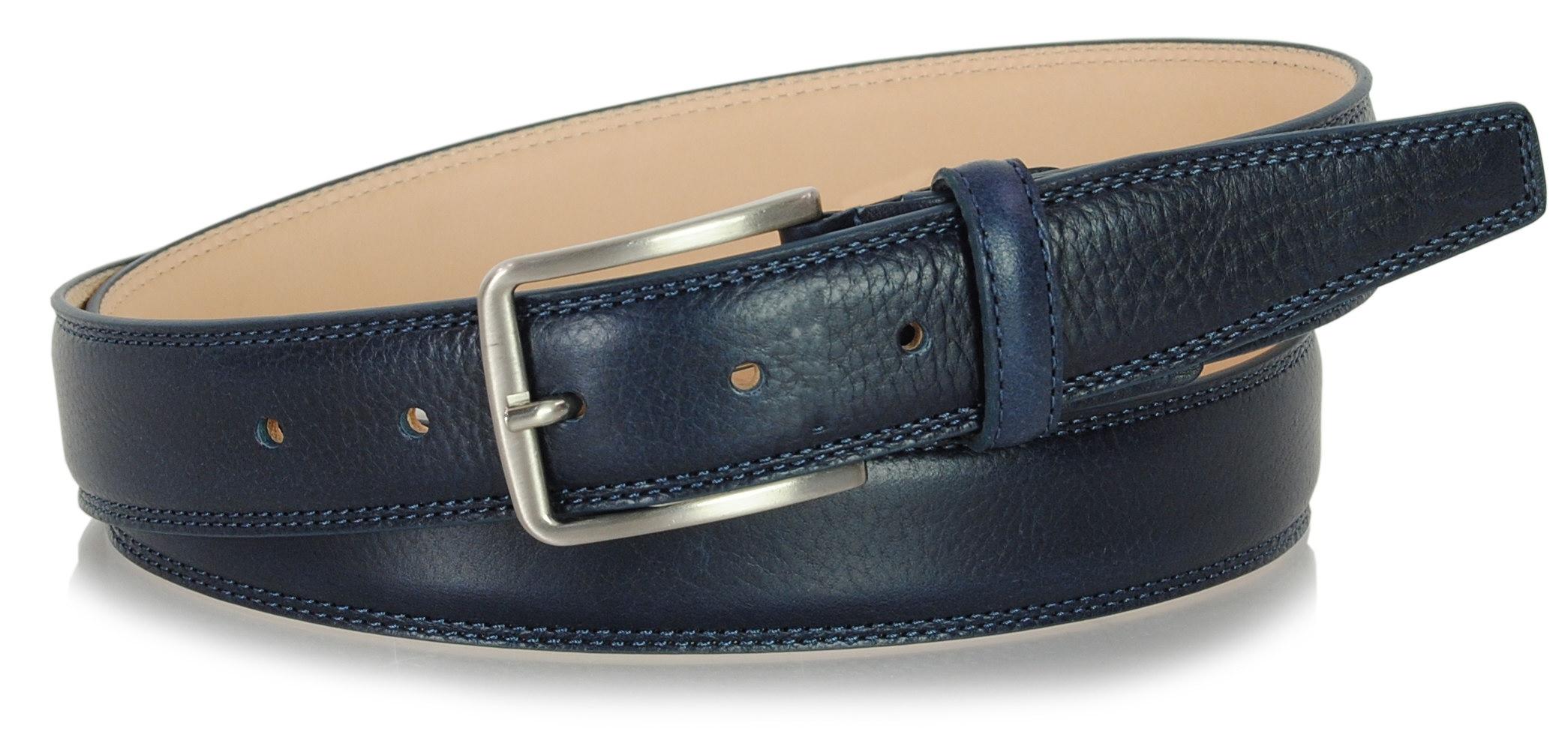 classic men's leather belt blue