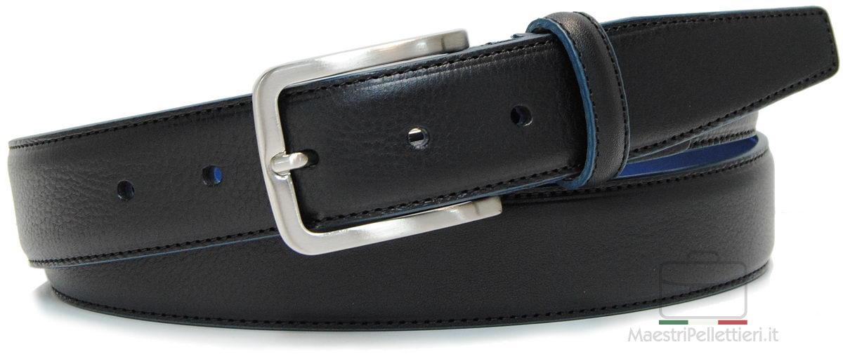 cintura nera uomo con bordo e interno a contrasto blu