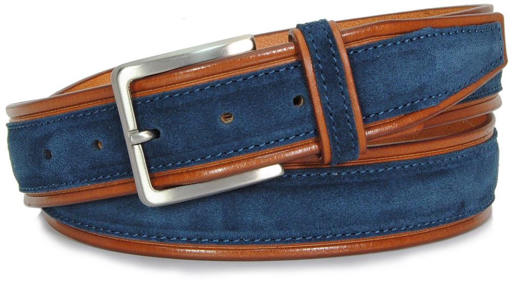 cintura in cuoio cognac e camoscio Blu - Acciaio