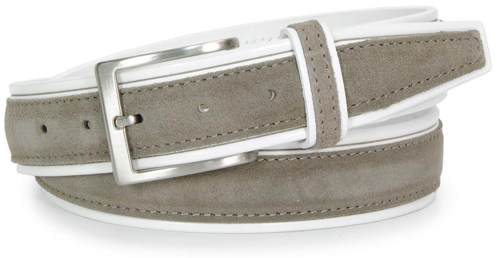 cintura in cuoio bianco e camoscio grigio taupe - Acciaio