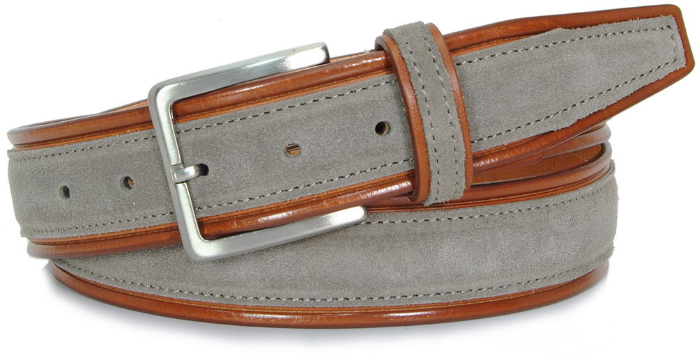 Belt in cognac vegetable leather and Taupe grey suede, made in italy - Acciaio