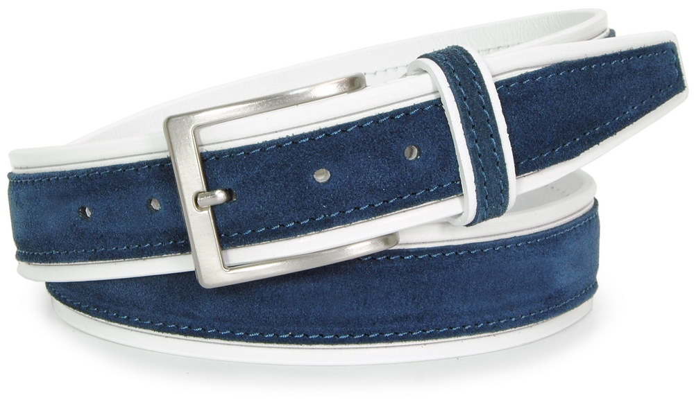 cintura in cuoio Bianco  camoscio Blu - Acciaio
