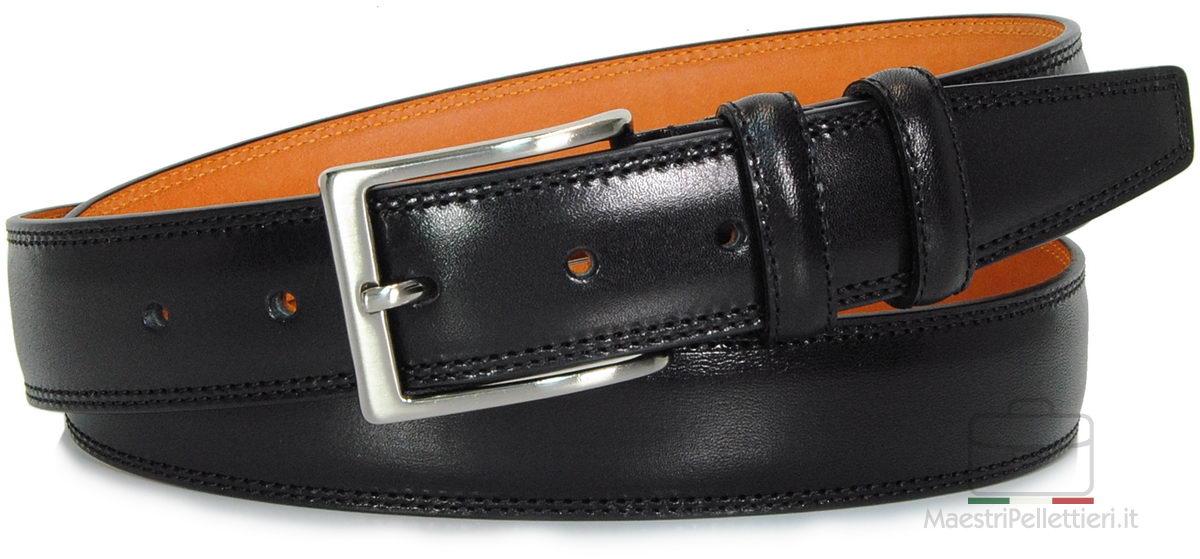 cintura nera uomo con interno a contrasto arancio