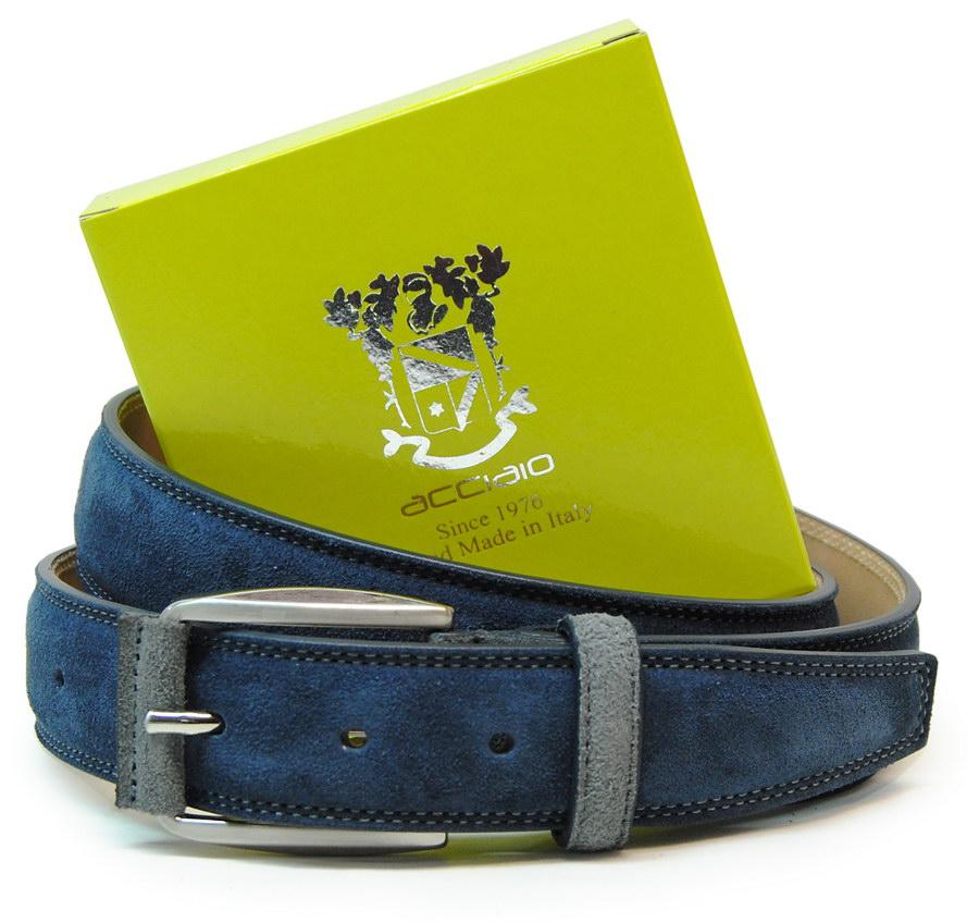 cintura scamosciata blu - Acciaio